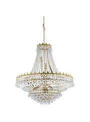 Searchlight Versailles 13 Light Clear Crystal Chandelier - Gold - 82Cm Dia