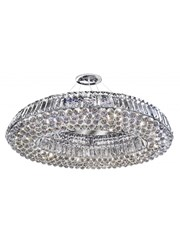 Searchlight Vesuvius 10  Light Oval Crystal Chandelier - Chrome & Crystal