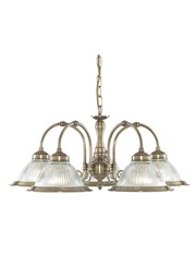 Searchlight American Diner 5 Light Pendant - Antique Brass - Clear Glass