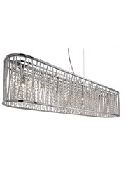 Searchlight Elise 8  Light Oval Ceiling Pendant - Chrome - Clear Crystal Drops
