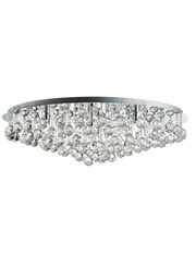 Searchlight Hanna Round 8 Light Ceiling Fitting - Chrome - Crystal Drops
