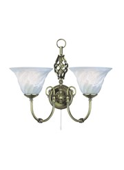 Searchlight Cameroon Wall Light - Antique Brass -Marble Glass - Pull Cord