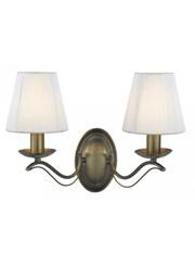 Searchlight Andretti  2 Light Wall Light - Antique Brass - Cream String Shades