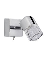 Searchlight Blocs Wall Spotlight - Ice Cube Glass - Switched - Chrome