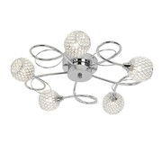 Endon Aherne Semi Flush Ceiling Light - Chrome With Mesh & Clear Beads - 5 Light