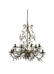Searchlight Almandite Chandelier - 12 Light - Golden Leaves And Clear Crystal