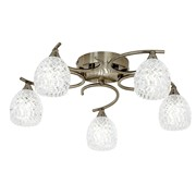 Endon Boyer Semi Flush Ceiling Light - Antique Brass - 5 Light