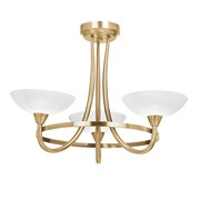 Endon Cagney Semi Flush Ceiling Light - Antique Brass - 3 Light