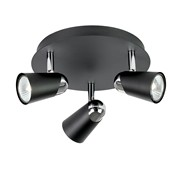 Endon Civic Triple Spotlight - Adjustable - Black & Chrome