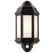 Endon Black Polycarbonate PIR Sensor Half Lantern Outdoor Wall Light