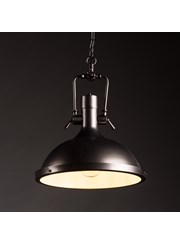 New York Modern Industrial Ceiling Pendant Light - Matt Black - Chain & Cable