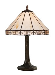 Portland Modern Tiffany Style Cream Stained Glass Table Lamp