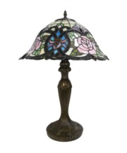 Tiffany Style Campana Pink Rose Large Antique Glass Table Lamp