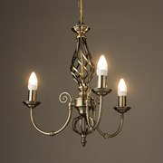 Kingswood Barley Twist Traditional Semi Flush Pendant - 3 Light