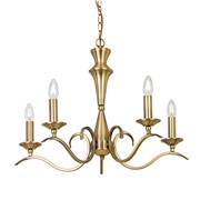 Endon Kora Chandelier Pendant - Antique Brass - 5 Light