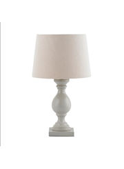 Endon Marsham Wooden Table Lamp with Ivory Linen Shade