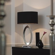 Endon Nerino Modern Oval Table Lamp - Silver Base - Black Shade