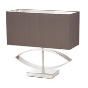 Endon Tramini Modern Table Lamp - Silver Plate - Rectangular Taupe Shade