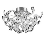 Endon Twist Twisted Chrome Ceiling Light - Chrome & Beaded Detailing - 12 Light