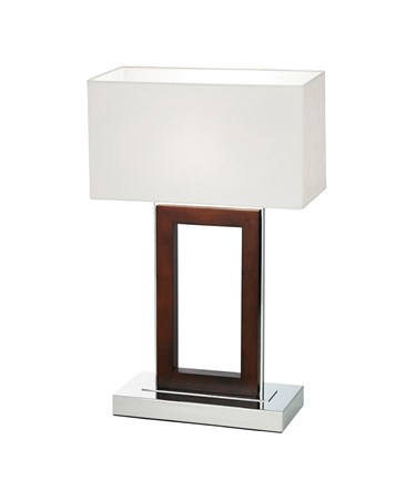 Endon Portal Table Lamp - Chrome & Wood - Cream Shade