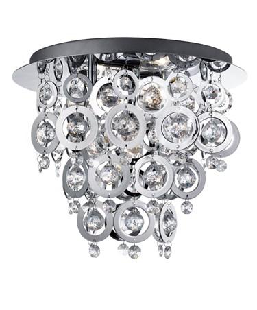 Searchlight Nova Flush Ceiling 3 Light - Chrome - Rings & Droplets