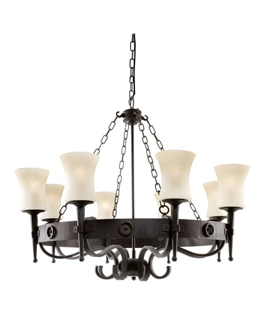Searchlight Cartwheel Scavo 8 Light - Matt Black/Brown - Wrought Iron Effect