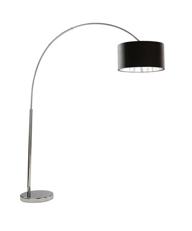 Searchlight Arcs Floor Lamp - Chrome - Black Fabric Shade With Silver Lining