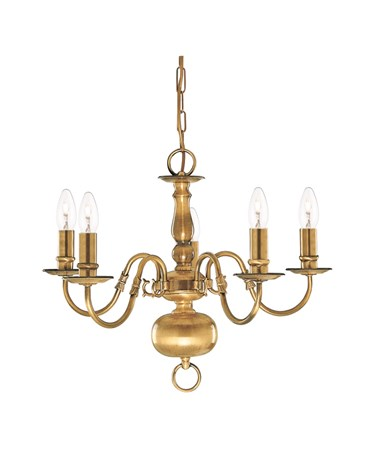 Searchlight Flemish 5 Light Chandelier - Antique Solid Brass