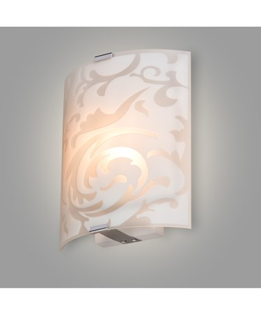 Roxbury Patterned Curved Glass Decorative Flush Wall Light
