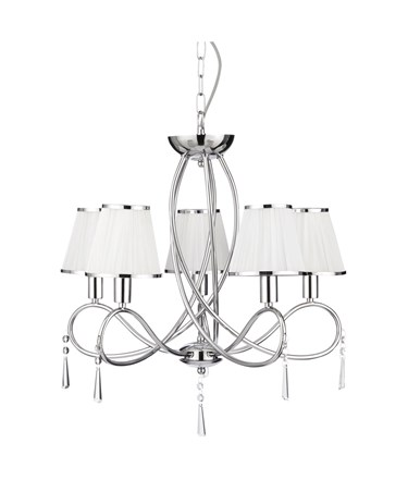 Searchlight Simplicity Ceiling 5 Light - Curved Chrome - White Shades