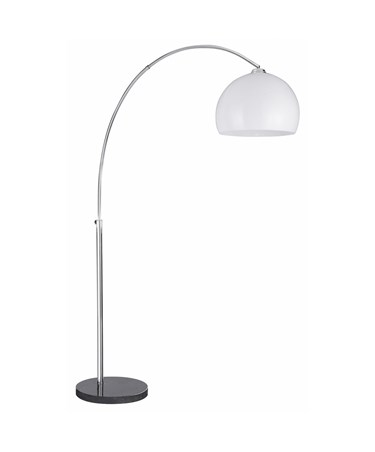 Searchlight Arcs Floor Lamp - Chrome - Black Marble Base - White Shade