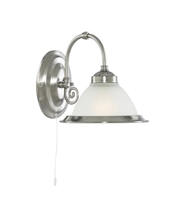 Searchlight American Diner Pull Cord Wall Light - Satin Silver - Opaque Glass