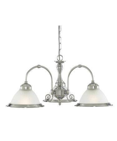 Searchlight American Diner 3 Light Peandant - Satin Silver - Opaque Glass