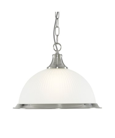 Searchlight American Diner Pendant Light - Satin Silver - Opaque Glass