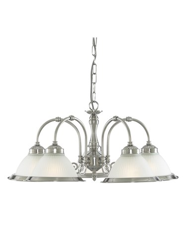 Searchlight American Diner 5 Light Peandant - Satin Silver - Opaque Glass