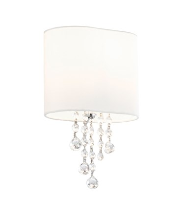 Searchlight Nina  Wall Light - Chrome - Clear Beads - White Shade