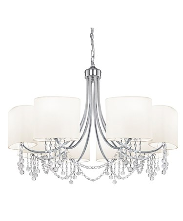 Searchlight Nina  Ceiling 8 Light - Chrome - Clear Beads - White Shade