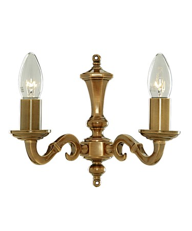 Searchlight Malaga  Double Wall Light - Antique Brass - Candle Light