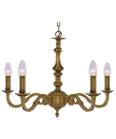 Searchlight Malaga  5 Light Fitting - Antique Brass - Candle Light