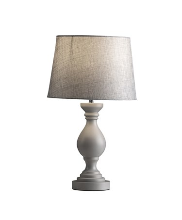 Willow Grey Modern Wooden Table Lamp Complete With Matching Linen Effect Shade