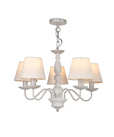 Aria Ceiling 5 Light Chandelier Pendant - Grey Painted Finish - Linen Shades