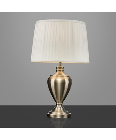 Hepburn Large Ceramic Table Lamp With Matching Pleated Shade - Antique Brass