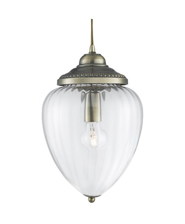 Searchlight Traditional Pendant Light -  Antique Brass With Clear Ribbed Glass
