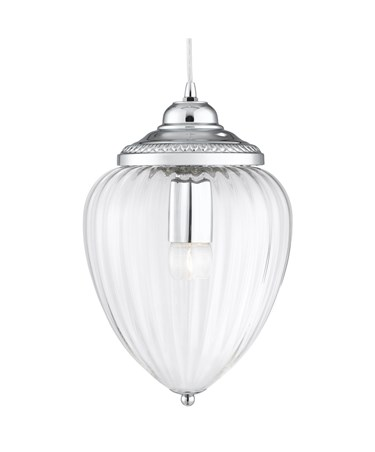 Searchlight Traditional Pendant Light -  Chrome With Clear Ribbed Glass