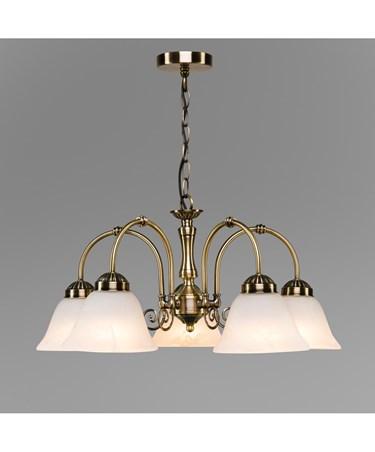 Elegant Diner Ceiling 5 Light Pendant - Antique Brass - Alabaster Glass