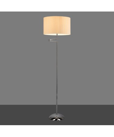 Stylish Chrome Swing Arm Floor Lamp Complete with Cream Box Pleat Shade