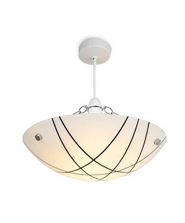 Crosbie Glass Ceiling Uplighter Pendant Shade - White/Black/Chrome