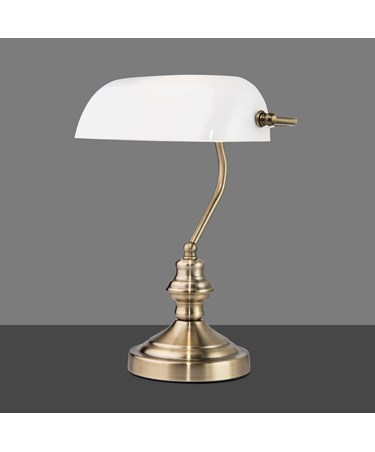 Touch Control Traditional Bankers Desk Lamp - Antique Brass - Opal Glass - Class
