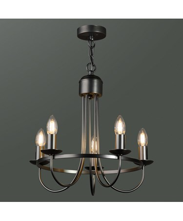 Islington Modern Grey Hoop / Ring / Circle Shape Candle Ceiling 5 Light