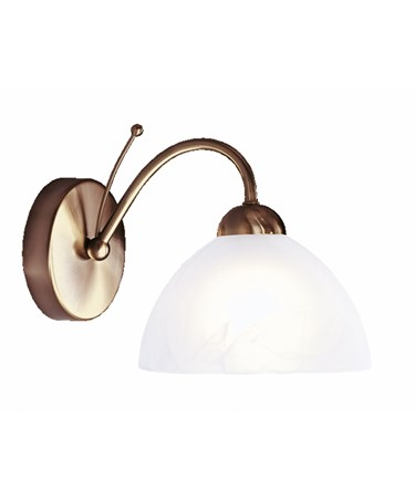 Searchlight Milanese Single Wall Light - Antique Brass - Alabaster Glass